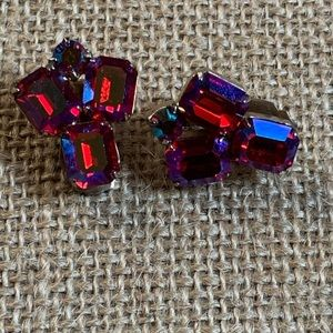 Signed WEISS red AB crystal earrings